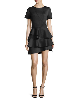 Short-Sleeve Ruffle-Skirt Dress, Black