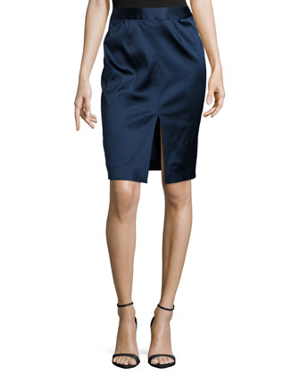 Hanna Satin Pencil Skirt, Royal