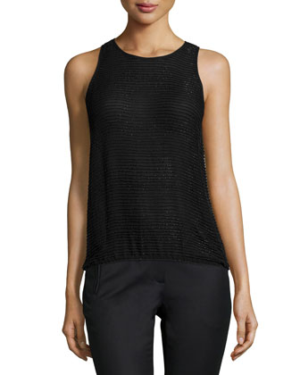 Leah Sleeveless Beaded Blouse, Black