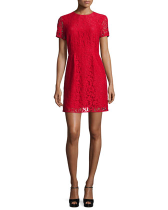 Short-Sleeve Fitted Lace Dress
