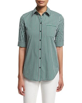 3/4-Sleeve Button-Front Plaid Shirt, Verde/Multi