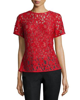 Short-Sleeve Paisley Lace Peplum Tee