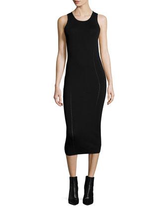 Ergonomic Flash Sleeveless Midi Dress, Black