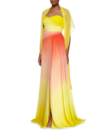 Strapless Sweetheart Ombre Gown