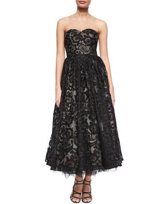 Strapless Sweetheart Tea-Length Dress