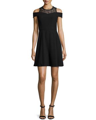 Lace-Trim Ponte A-Line Dress, Black
