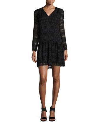 Long-Sleeve A-Line Lace Dress, Black