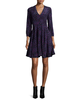 Aster Floral Silk Fit-and-Flare Dress, Navy
