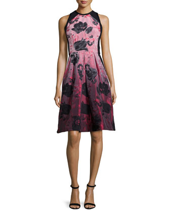 Sleeveless Floral-Print Fit & Flare Dress