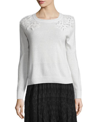Snow Crystal Pullover Sweater & Tiered Fil Coupe Skirt
