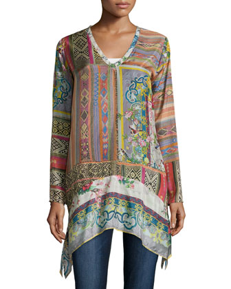 Long-Sleeve Patchwork-Print Tunic, Women's