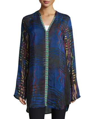 Raindrop Printed Georgette Tunic, Women's