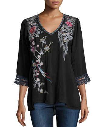 Dandelion Dream 3/4-Sleeve Embroidered Blouse