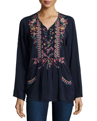 Farrah Long-Sleeve Embroidered Blouse
