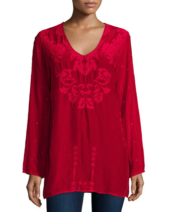 Sarah Long-Sleeve Embroidered Top, Women's