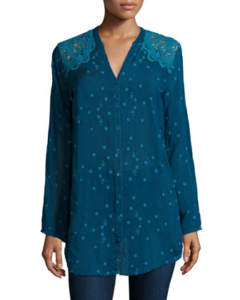 Lace-Shoulder Embroidered Blouse, Women's
