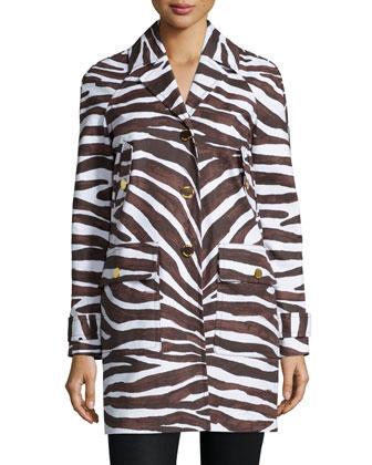 Safari-Print Cocoon Coat