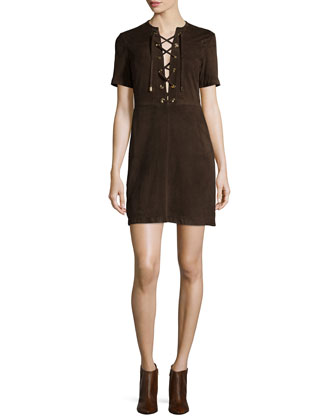 Lace-Up Suede Shift Dress