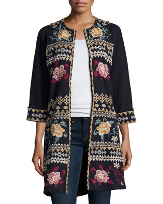 Aralyn Raw-Seam Embroidered Coat, Women's