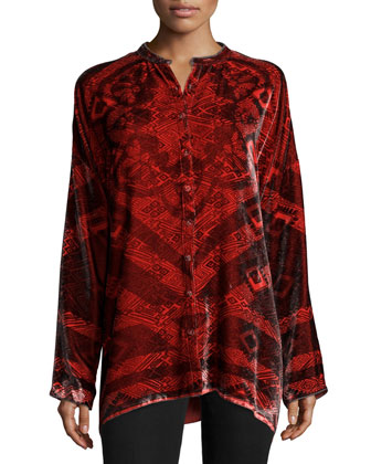 Long-Sleeve Velvet Blouse