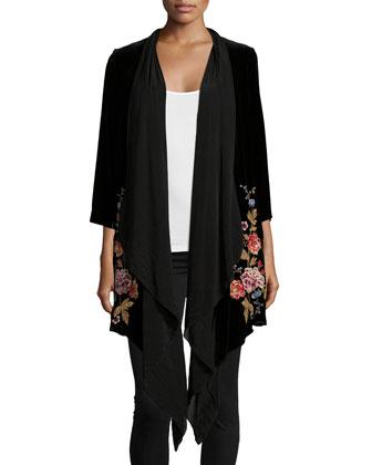 Velvet Drama Embroidered Coat, Women's