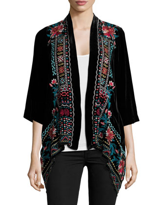 Cascading Embroidered Velvet Cardigan