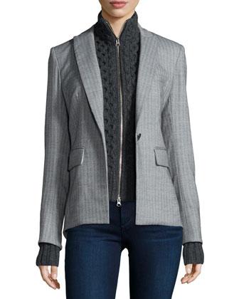 Peaked Lapel Long-Back Jacket, Gray