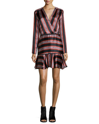 Striped Satin Long-Sleeve Dress, Red
