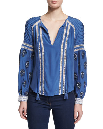 Raglan Embroidered Boho Blouse & High-Waist Flared Denim Pants