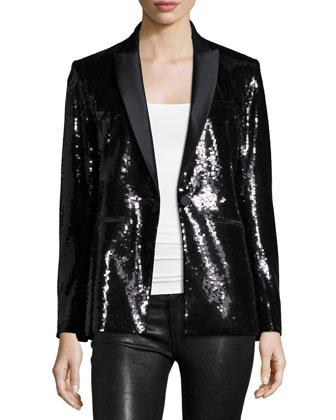 Sequin Tuxedo Blazer, Black