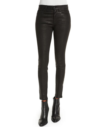 Distressed Leather Ankle Pants, Black