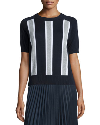 Short-Sleeve Colorblock Striped Sweater, New Navy