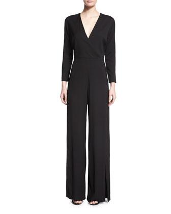 Long-Sleeve Wide-Leg Jumpsuit, Black