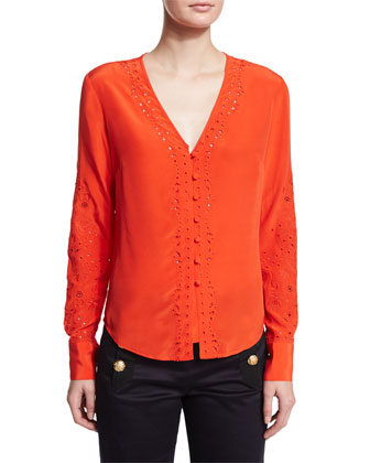 Embroidered Long-Sleeve Top, Scarlet