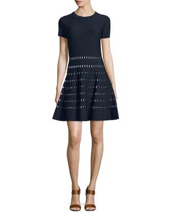 Short-Sleeve Pointelle-Trim Dress, New Navy