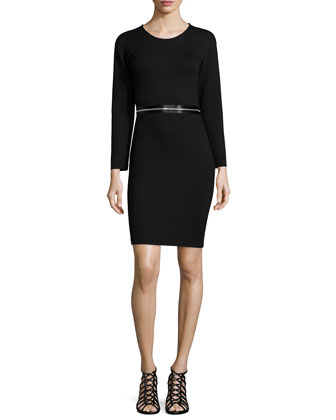 Long-Sleeve Zip-Waist Dress, Darkest Black