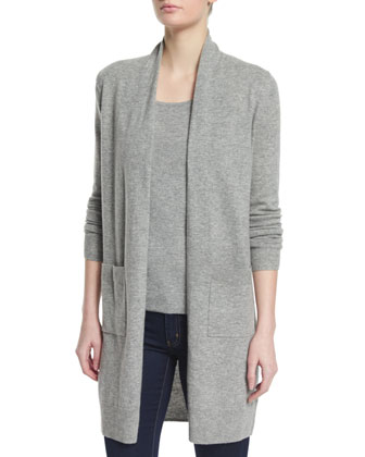 Long Open Wool-Blend Cardigan