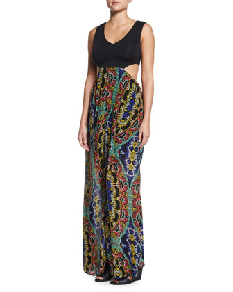 Moroccan Dreams Printed Maxi Dress, Black