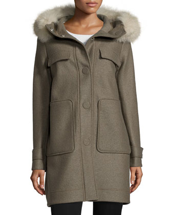 Snap-Front Coat W/ Fox Fur Hood, Green