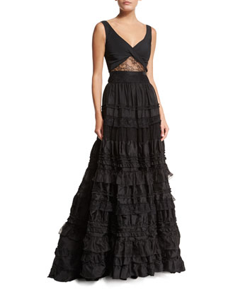 Samuel Sleeveless Tiered Lace Gown, Black