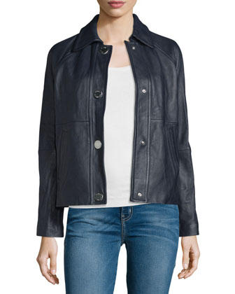 Snap-Front Leather Jacket, New Navy