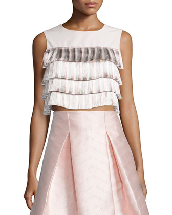 Jason Tiered-Fringe Crop Top, Light Pink