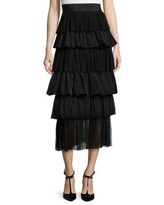 Daxana Tie-Front Crepe Blouse & Miriella Tiered Midi Skirt