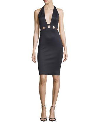Grommet Halter Sheath Dress, Black