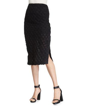 Scalloped Pencil Skirt, Black