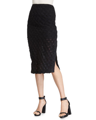 Draped Fringe Bra Top & Scalloped Pencil Skirt, Black