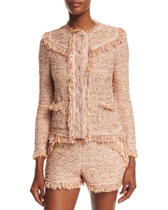 Metallic Crochet Jacket W/Fringe Trim