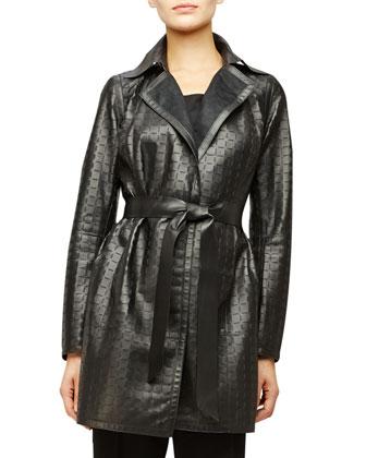 Jeanette Laser-Cut Leather Coat