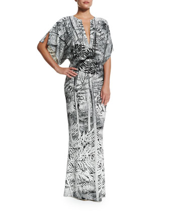 Obie Printed V-Neck Coverup Gown
