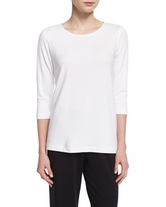 3/4-Sleeve Terry Top, Petite